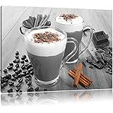 chocolat chaud et du café frais avec les paillettes noir / blanc Taille: 60x40 sur toile, énorme XXL Photos complètement enca