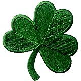 Clover irlandese Verde scuro Lucky Shamrock Emblema Nazionale Termoadesiva Cucibile Ricamata Toppa