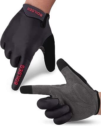 BOILDEG Cycling Gloves Full Finger Mountain Bike Gloves with Anti-Slip Shock-Absorbing Pad Breathable,Touchscreen MTB Road Biking Gloves for Men/Women