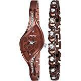 PAPIO Analogue Women's Watch with Bracelet (Brown Dial Brown Colored Strap) (Pack of Two)