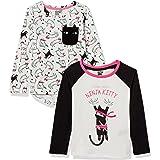 Spotted Zebra Camisetas de Manga Larga Niñas, Pack de 2