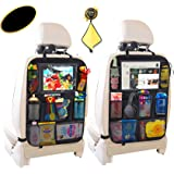 OKEECA Car Back seat Organisers,Car Organiser for kids with 10inch,Car Seat Back Protectors for Toys Drink Tissue Snacks,Kick