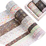 10 rollen Washi Tape Set, Folie Goud Bloemenpatroon Decoratieve Masking Washi Tapes voor Scrapbook, Gift Wrapping en DIY Craf