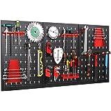FIXKIT Panel para Herramientas de Metal 17 Piezas, 120 x 60 cm, Organizador y Soporte para Pared de Multiusos, Tablero Perfor