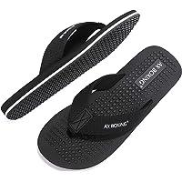 AX BOXING Mens Flip Flops Beach Gentleman Sven Sandals Slippers Leather Blue Red Soft Non-Slip Indoor Outdoor Size 7-11