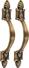 Klaxon Classical Rajwadi Brass Decorative Door/Cabinet/Drawer Pull Handle-4 Inches (Antique Finish) - Pack of 2