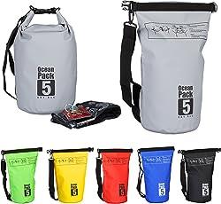 Relaxdays Ocean Pack, 5L, wasserdicht, Packsack, leichter Dry Bag, Kajak, Trockentasche, Segeln, Ski, Snowboarden, farbe