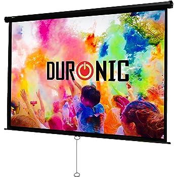 Duronic MPS100 /43 Ecran de projection à déroulement manuel 100 pouces 4:3/203 x 152 cm - Fixation mur ou plafond - 4K Full HD 3D