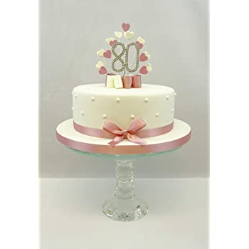 CAKE TOPPER HEART BURST SPRAY DIAMANTE 80TH BIRTHDAY VINTAGE PINK