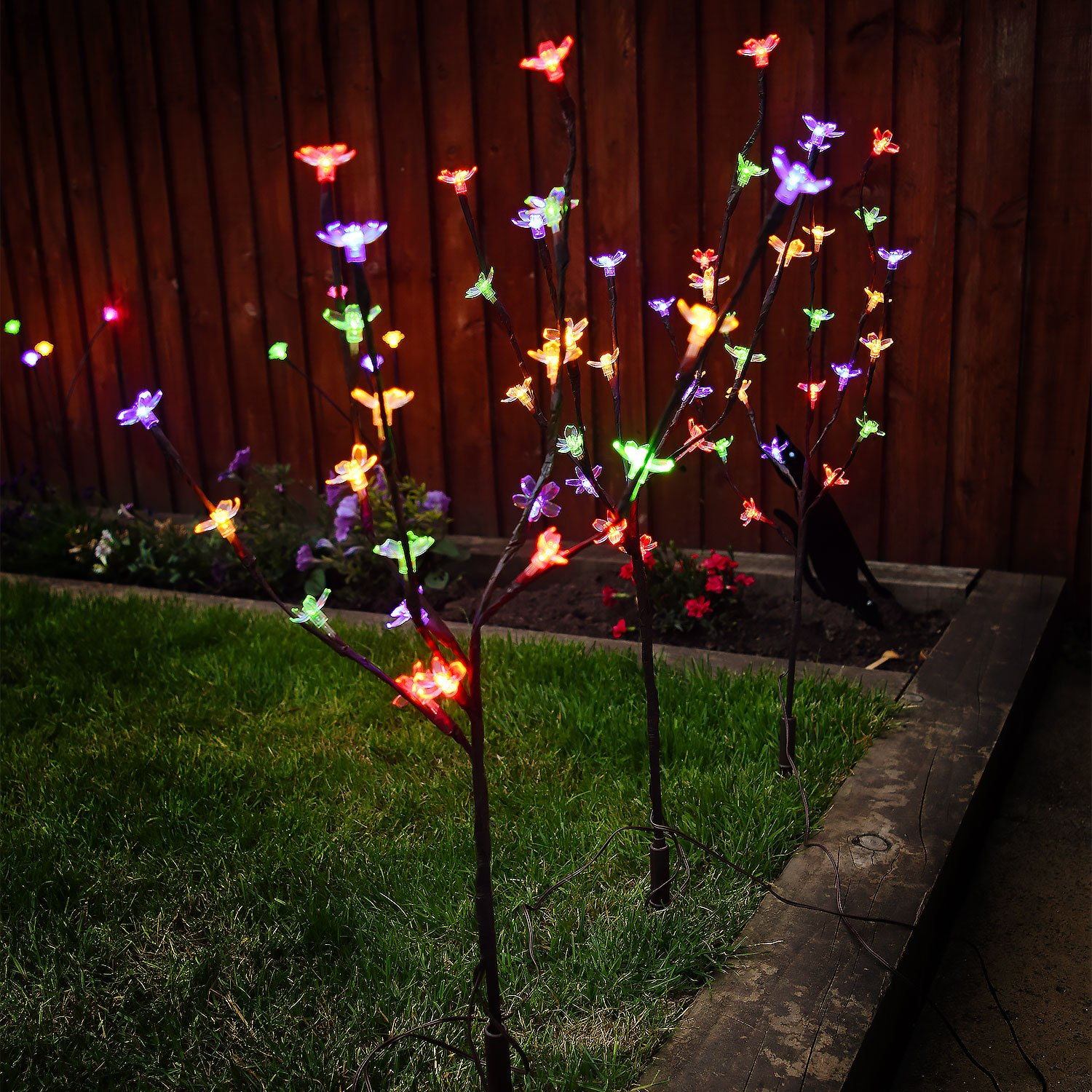 This controller lets you control 4 different branches of lights - Solalite Set Of 3 Stylish Ornamental Solar Powered 60 White Led Branch Lights Outdoor Garden Amazon Co Uk Garden Outdoors