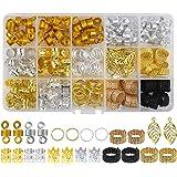 Dokpav 200 Pièces Bijoux de Tresse de Cheveux en Aluminium Anneaux Dreadlocks Perles pour Accessoire de Cheveux
