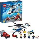 LEGO 60243 City Police Helicopter Chase Toy with ATV Quad Bike, Motorbike and Truck, Building Set for 5+ Year Old