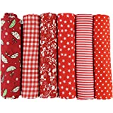 UOOOM 6 Stueck 50 x 50cm Stoffpakete Patchwork Stoffe Baumwolle tuch DIY Handgefertigte Nähen Quilten Stoff Baumwollgewebe Verschiedene Designs (Rote)