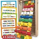 Juguete de xilófono con tarjetas de música (incluidas), 8 Nota metal / música de madera Glockenspiel / xilófono, con caja de