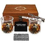Baban Scatola Legno Wisky Set - Whisky Stones 8 PCS & Bicchieri Whisky 2 PCS, Pinze & Borsa Ghiaccio - Regalo Boutique per Gl