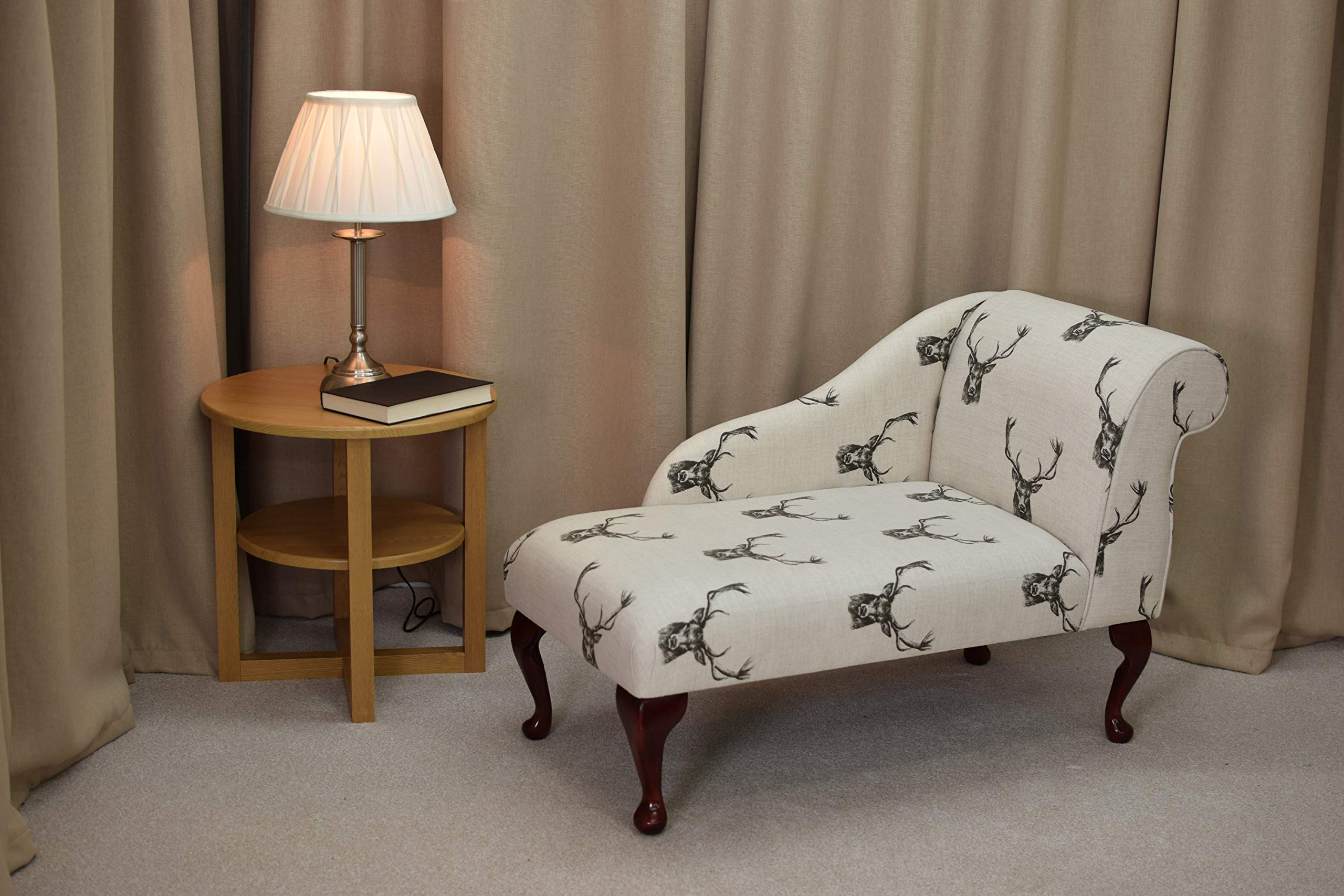 41″ Small Classic Chaise Longue – Chair Seat – Stags Charcoal Cotton Print Fabric – Right Facing With Queen Anne Legs
