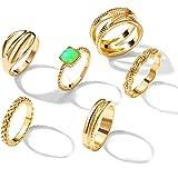 17 MILE 6 قطع الذهب صف خواتم المفاصل مجموعة للنساء والبنات، موضة مريحة تناسب خواتم الأصابع المشتركة الصغيرة للهدايا (الحجم: 6