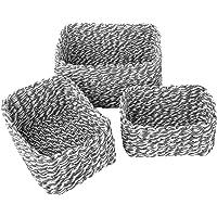La Jolíe Muse Lot de 3 paniers de Rangement tissés en Papier recyclé pour placards, tiroirs, placards, étagères et…