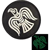 Glow Dark Rare Viking Raven Odin God of War Morale Embroidered Touch Fastener Écusson Patch
