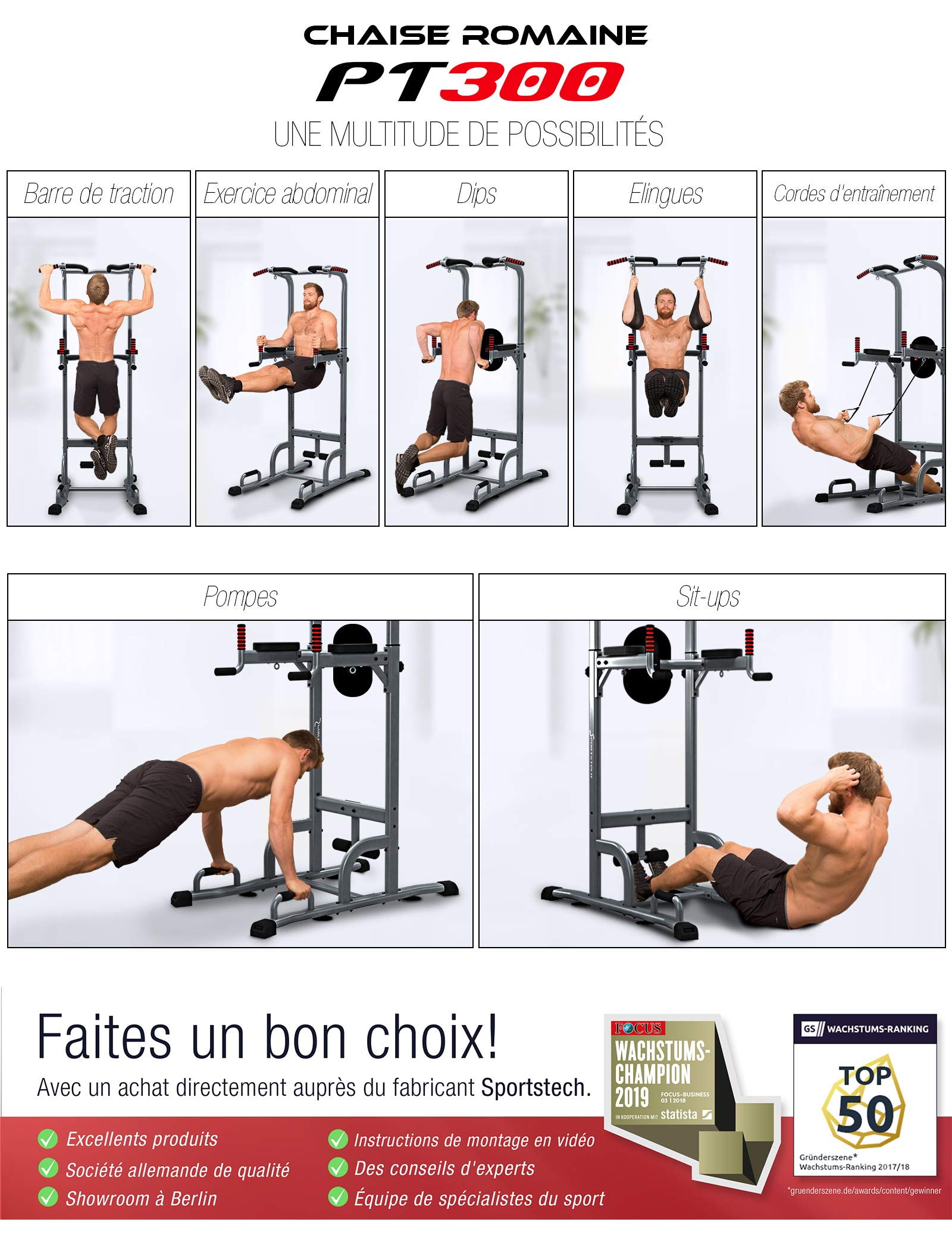 Sportstech Chaise Romaine 7 En 1 Pt300 Power Tower Tour De Musculation Multifonctions Barre De Traction Station De Fitness
