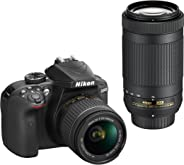 Nikon D3400 Digital Camera Kit (Black) with Lens AF-P DX Nikkor 18-55mm, 70-300mm f/4.5-6.3G ED VR Lens, 16 GB Class 10 SD C