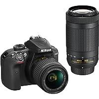 Nikon D3400 Digital Camera Kit (Black) with Lens AF-P DX Nikkor 18-55mm, 70-300mm f/4.5-6.3G ED VR Lens, 16 GB Class 10…
