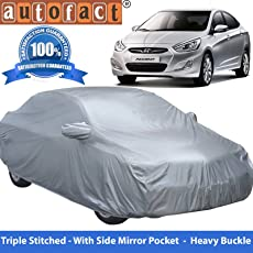 Autofact Premium Silver Matty Triple Stitched Car Body Cover with Mirror Pocket for Hyundai Accent