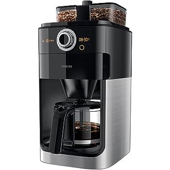 Philips GrindundBrew HD7766/00 Filter-Kaffeemaschine (1000 W, doppelter Bohnenbehälter) schwarz/metall