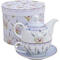 Théière avec motif lavande pour une personne - Théière, tasse et soucoupe - En porcelaine - Avec coffret cadeau…