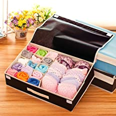 Styleys Fabric 15+1 Grids Multi Compartment Cell Foldable Non-Smell Drawer Storage Box/Closet Organizer, Standard (Brown, S1016)