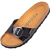 Palado® Damen Sandale Malta | Made in EU | Pantoletten in vielen sommerlichen Farben | 1-Riemen Sandaletten mit Kork…