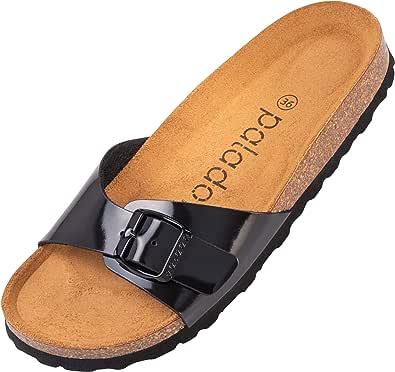 Palado® Damen Sandale Malta   Made in EU   Pantoletten in vielen sommerlichen Farben   1-Riemen Sandaletten mit Kork-Fussbett   Frauen Hausschuhe mit Leder-Laufsohle