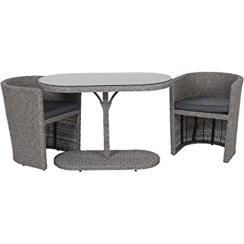 Amazon.de: Gartenmöbel-Set Balkonmöbel 3tlg Cube Sitzgarnitur ...