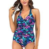 Flyingshark V Neck One Piece Swimming Costume for Women with Ruching Swimsuits Shape Swimwear for Women
