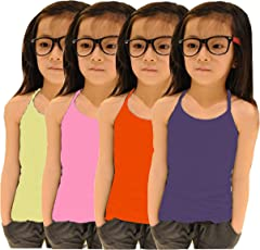 Apolo Kids Girls Camislips for Multicolored Pack of 4