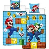 Linon Kinder Wende-Bettwäsche Super Mario Bros Super Mario Maker 135 x 200cm + 80 x 80cm - 100% Baumwolle Nintendo Luigi Prinzessin Peach Bowser Yoshi Toad Renforcé deutsche Standardgröße 2 Vollmotive