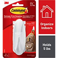 Command Designer Large Hooks, Holds 2.2 kg, (1 Hooks, 2 Strips), No Drilling, Holds Strong, No Wall Damage