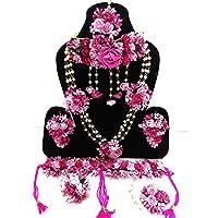 12SEASONS Latest Flower Jewellery Designer Yellow Pink Jwellery Set for Women & Girls (Mehandi/Haldi/Bridal/Baby Shower…