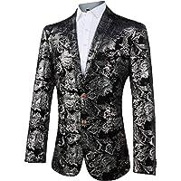 GOMY Men's Luxury Casual Dress Suit Slim Fit Stylish Gold Blazer Coats
