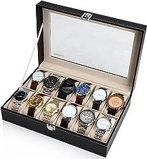 Readaeer Uhrenbox für 12 Uhren Kasten Speicher mit Glasdeckel schwarz aus PU-Leder