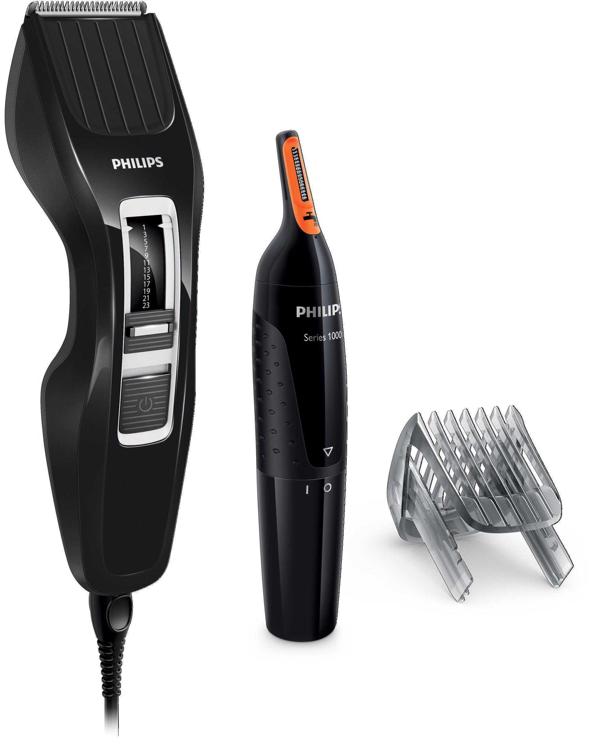 Philips HC3410/85 – Pack cortapelo con 13 posiciones de corte de 0,5 a 23 mm, y recortador de nariz y oidos, color negro