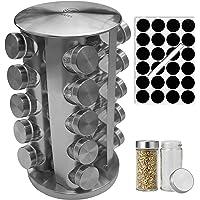 Cuisatel Carrousel à épices Rotatif 360° | 20 Pots à Epices en Verre | 17,8 x 33 cm (D x H) | 20 Etiquettes et marqueur…