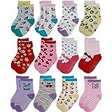 Yafane 12 Pares de Calcetines Antideslizantes para Niños Niñas Recien Nacido Unisex Pequeños Algodón Lindo con Puños Calcetin