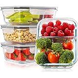 Lot de 4 Boite Repas Verre Lunch Box, 2 Compartiments Hermetiques, Taille XL 1040 mL - Boite Repas Bento Box en Verre et sans
