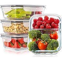 Lot de 4 Boite Repas Verre Lunch Box, 2 Compartiments Hermetiques, Taille XL 1040 mL - Boite Repas Bento Box en Verre et…