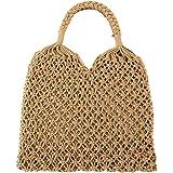 FALETO Damen Mädchen Netz Stroh geflochtene Tasche Handgefertigt Handtasche Sommer Hohl Strandtasche Handgelenkstasche, Weiß/