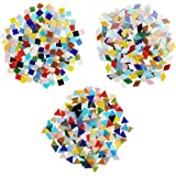Belle Vous Tesselles en Verre Colorées 3 Formes (600 pcs/480 g) - Carreaux de Mosaique Diamants (2 x 1,2 cm) Triangles (1,5 x