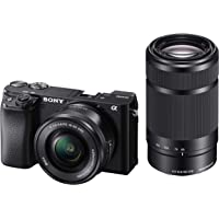Sony Alpha ILCE-6100Y 24.2 MP Mirrorless Camera with 16-50 mm and 55-210 mm Zoom Lenses (APS-C Sensor, Fast Auto Focus, Real-time Eye AF, Real-time Tracking, Vlogging & Tiltable Screen)