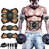 ANLAN Electroestimulador Muscular Abdominales, EMS Estimulador, Abdomen/Brazo/Piernas Entrenador Muscular con USB Recargable,