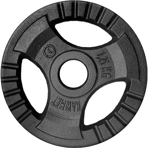 Disco del Piatto del Peso del ghisa Tri-Grip KAWMET 28,5mm - 1,25kg, 2,5kg, 5kg, 10kg, 20kg e Impostato